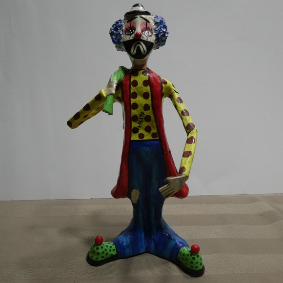 Clown Hand crafted & painted Paper Mache Figurine